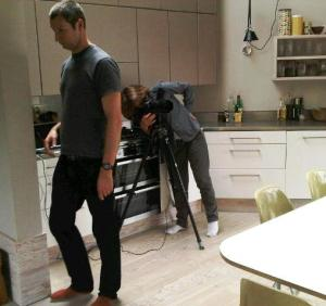 Jan and Pete setting up a kitchen shot