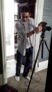 Darren at work in the Barratt Cambell's apartment