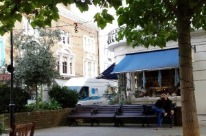 Sipping coffee outside Summerill & Bishop in W11