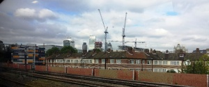 Cranes perched across the London skyline