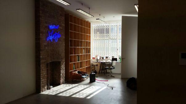 Landy's 'thinking' studio with Lifestyle Neon